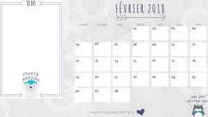 calendrier fevrier 2018