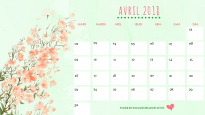 calendrier avril 2018 blog