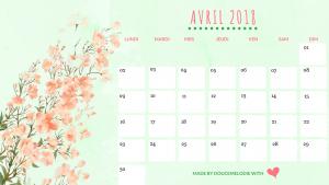 calendrier avril 2018 blog